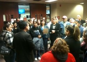 Fernando Garcia speaks to BNHR members outside El Paso County Commissioners' Court after the passage of the resolution for immigration reform.